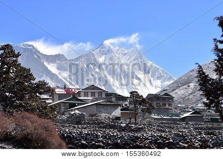 Everest mountain range panorama. Everest, Lhotse and Nuptse