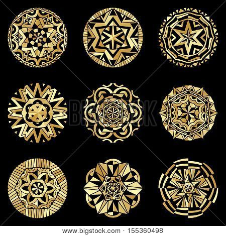Gold colors decorative icons at black. Boho style ornate elements golden ethnic pattern. Set of tribal ornaments. Vector illustration.