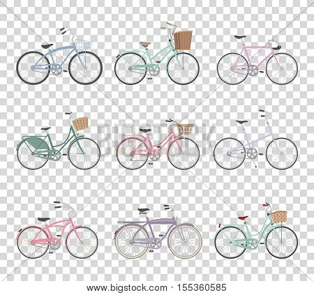 Set of retro bicycles isolated on transparent background in modern flat style. Vintage bicycles. Old retro style. Vector illustration