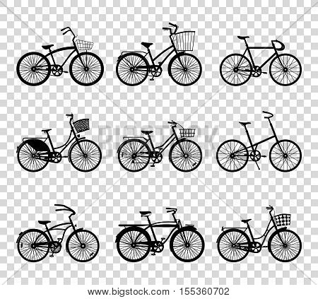 Set of retro bicycles silhouettes isolated on transparent background. Vintage bicycles. Old retro style. Vector illustration