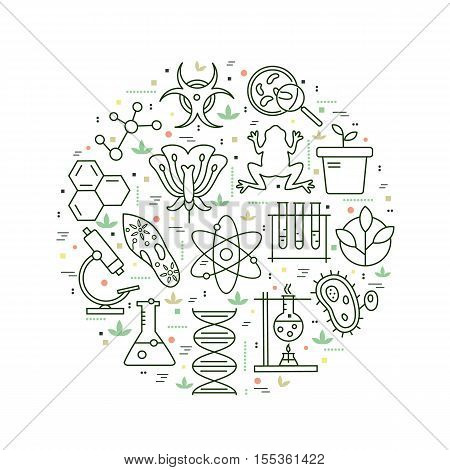 Modern thin line concepts with biology elements. Vector logo for trendy designs.
