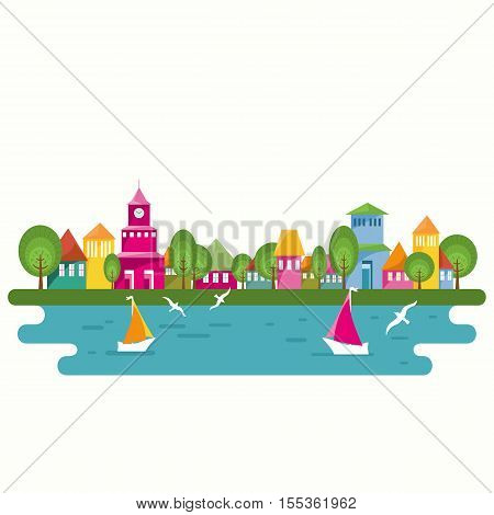 Abstract street with colorful homes and blue water lake. Seaside scene with yachts and seagulls. Flat design vector illustration.