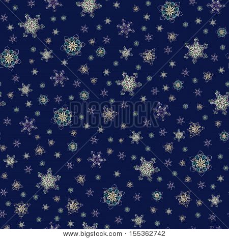 Seamless pattern made of handmade paper snowflakes in quilling technique on dark blue background. Can be used as Christmas or New Year background, for greeting cards or wrapping paper.