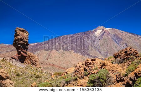Pico Del Teide Mountain With Roque Cinchado