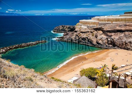 aerial view of a small Abama beach on the west coast of Tenerife Canary islands Spain