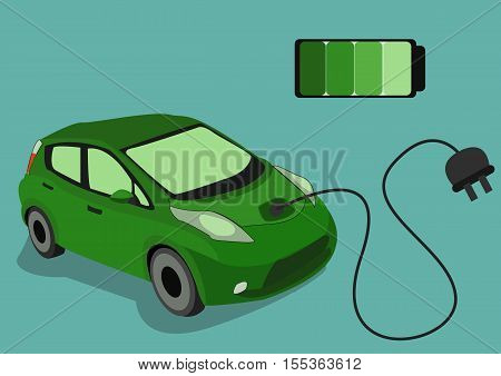 The Image of Green Electrocar isolated on blue background