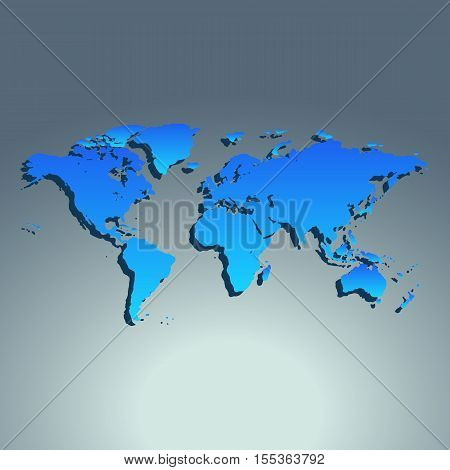 World map blue color. Flat design. Vector illustration