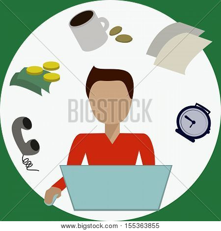 Office manager in front of the laptop with set of lifestile items isolated