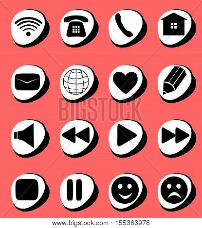 Symbols connection e-mail play pause phone communication set. Simple Internet button beauty shape. Vector illustration for web design. A set of black symbol on pink background