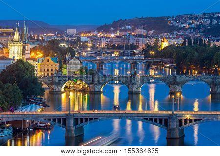 Prague Czech Republic, view of Bridges on Vltava in Praha at Night