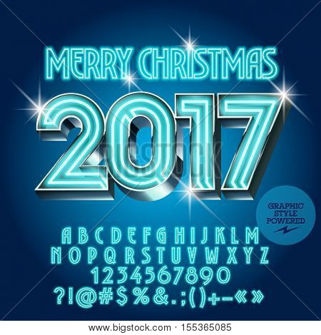 Vector chic neon Merry Christmas 2017 greeting card with set of letters, symbols and numbers. File contains graphic styles