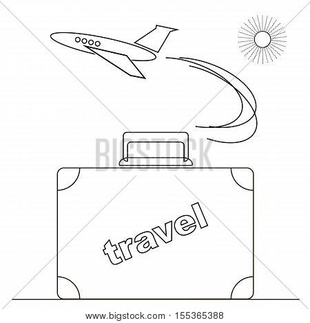 Travel or Vacation Linear Icon Isolated on White Background