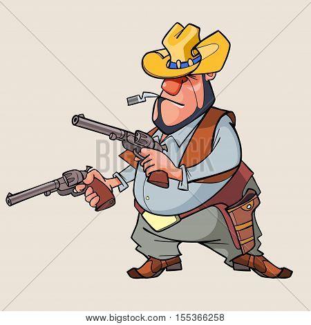 cartoon man is a thug with guns