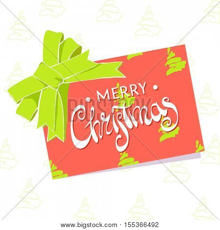Beautiful greeting card with Christmas on a white background with a big red bow