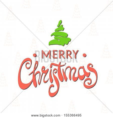 Merry Christmas elegant lettering on a white background with Christmas tree
