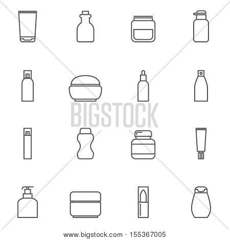 Cosmetic package line icons. Bottle and tube products, spray and vial outline signs. Cream for care skin, vector illustration
