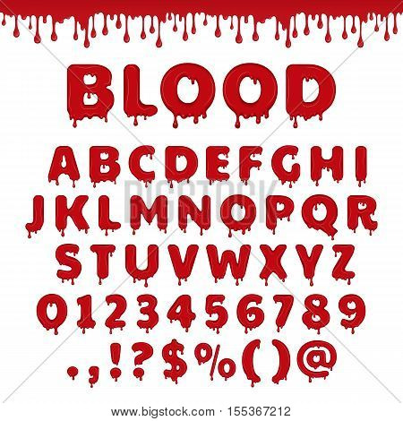 Bloody latin alphabet abc. Vector font set with blood drop or red liquid. Wet numbers and letter symbols in halloween horror style. Scary text isolated on white background.
