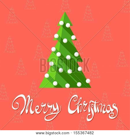 Christmas tree on a red background with the words Merry Christmas