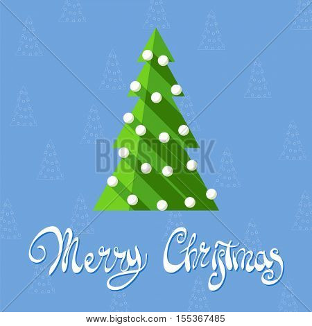 Christmas tree on a blue background with the words Merry Christmas