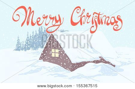 Beautiful picture with New Year's house and the magical inscription Merry Christmas