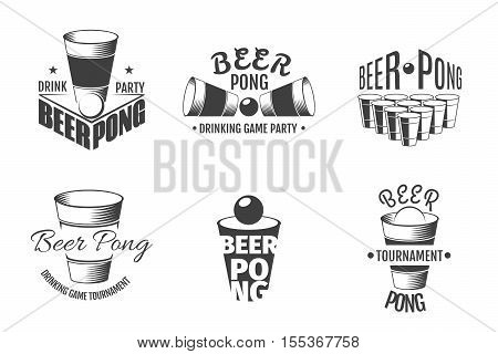 Beer pong labels. Illustration of emblem template for party vector