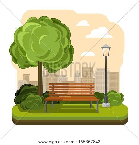 Park with bench and streetlight vector. Illustration of green tree
