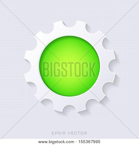 Green vector 3d web button gear shape concept