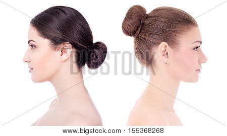 Make Up And Skin Care Concept - Side View Of Beautiful Women With Perfect Skin Isolated On White