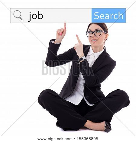job search concept - young beautiful business woman sitting and pointing at search bar isolated on white background