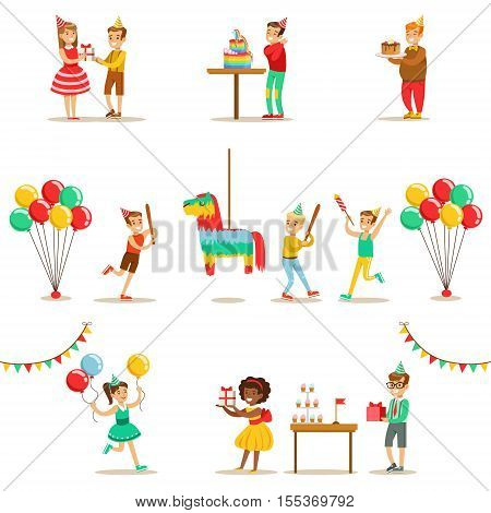 Kids Birthday Party Set Of Scenes. Illustrations With Party Attributes, Balloons And Decorations With Happy Boys And Girls In Cone Hats.
