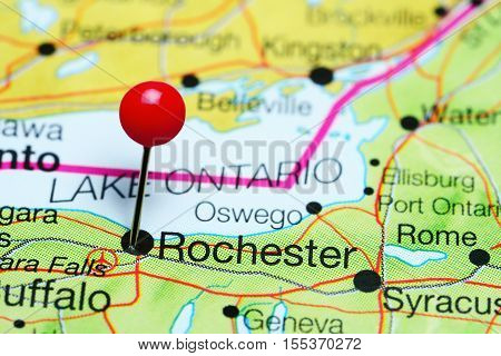 Rochester pinned on a map of New York state, USA