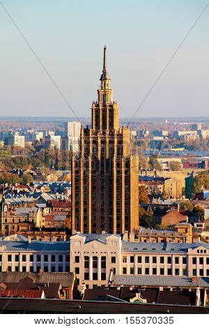 RIGA, LATVIA - 18 OCTOBER 2016.Aerial view of Riga city with Latvian Academy of Sciences, Riga, Latvia