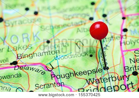 Poughkeepsie pinned on a map of New York state, USA