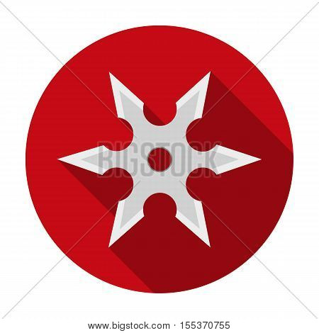 Metal shuriken icon in flat style isolated on white background. Weapon symbol vector illustration.