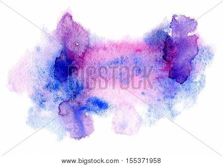 Violet and pink watery illustration.Abstract watercolor hand drawn image.Wet splash.White background.