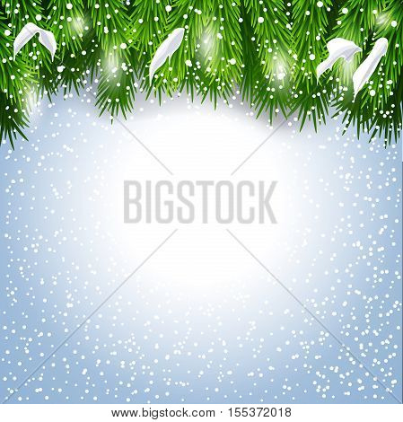 Christmas background with fir tree snowflake and snowfall with copy space for text Vector illustration design for xmas new year greeting card invitation template