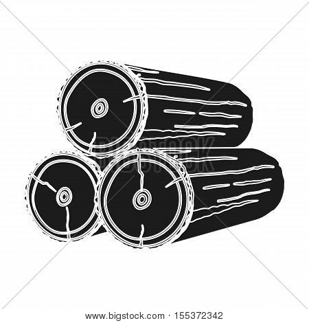 Stack of logs icon in black style isolated on white background. Sawmill and timber symbol vector illustration.