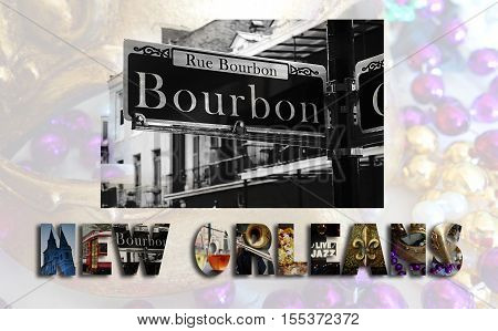 New Orleans illustration with assorted images from the French Quarter