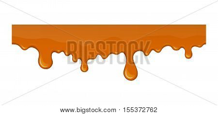 Flow of melted sweet caramel or candy. Vector liquid drop and splash. Tasty flowing brown syrup or honey. Seamless horizontal border in cartoon style. Abstract shapes isolated on white background.