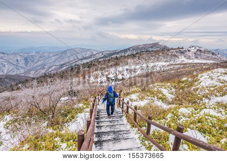 Hikers In Winter Mountains,winter Landscape White Snow Of Mountain