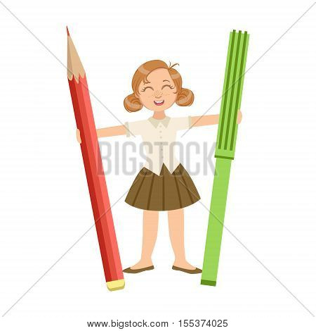 Girl In School Uniform With Giant Pencil And Crayon Simple Design Illustration In Cute Fun Cartoon Style Isolated On White Background
