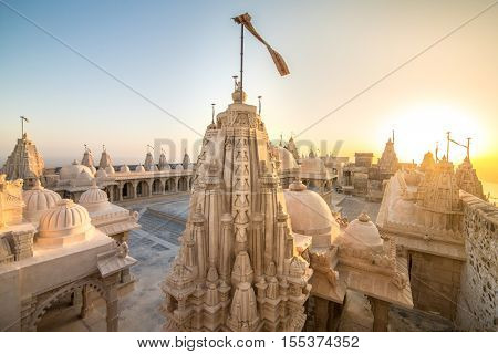 Jain temples on top of Shatrunjaya hill. Palitana (Bhavnagar district), Gujarat, India