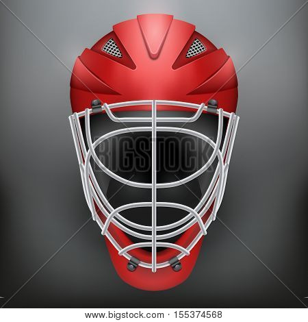 Classic Goalkeeper Ice and Field Hockey Helmet on dark Background. Copy space for text. Sport Equipment. Editable Vector illustration isolated on background.
