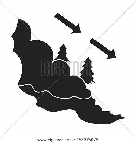Avalanche icon in black style isolated on white background. Ski resort symbol vector illustration.