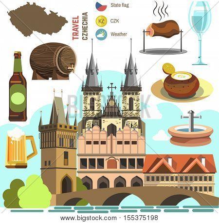 Czech Republic culture symbol set. Europe Travel Prague direction. Vector icons. Flat isolated illustration