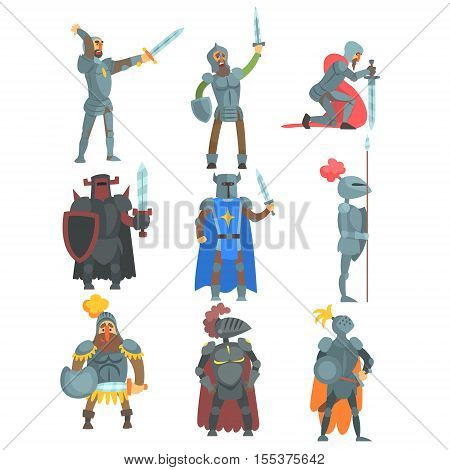 . Medieval Knight Characters Collection Of Flat Colorful Drawings Isolated On White Background.
