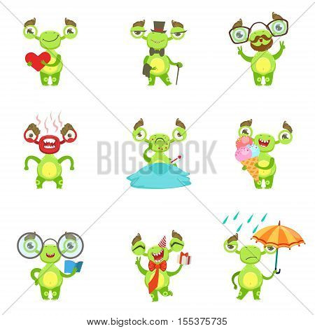 Green Alien Character Different Emotions And Situations Set. Funny Childish Fantastic Creature Emoticon Icons On White Background.