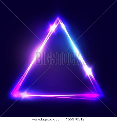 Neon sign. Triangle background. Glowing electric abstract frame on dark backdrop. Light banner with glow. Bright vector illustration with flares and sparkles