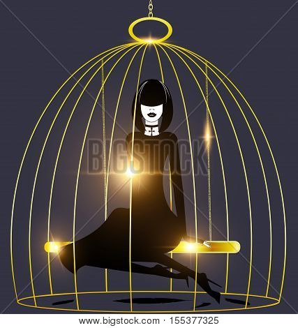 black background, golden cage and abstract dark lady inside