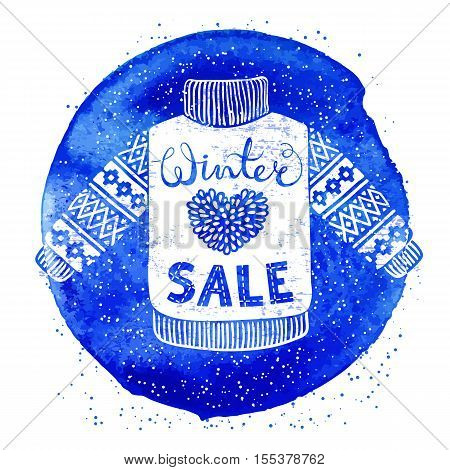 Winter Special banner or label with knitted woolen sweater on watercolor background. Business seasonal shopping concept sale. Isolated vector illustration.